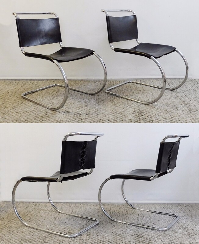 Set of 4 Mies Van Der Rohe MR 10 Leather and Chrome Dining Chairs by Knoll