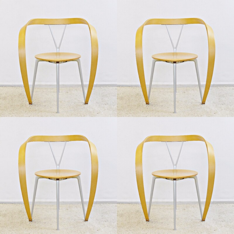 Set of 4 Revers Chairs, Andrea Branzi for Cassina, 1993
