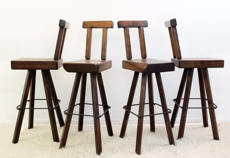 Set of 4 Solid Wood Swivel Bar Stools
