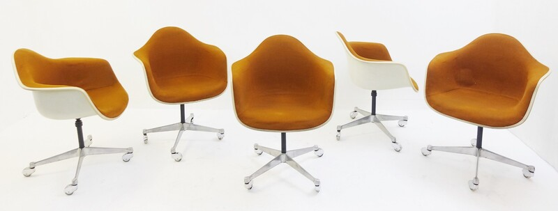 Set of 5 Swivel Herman Miller office chairs, Charles & Ray EAMES - 1960s