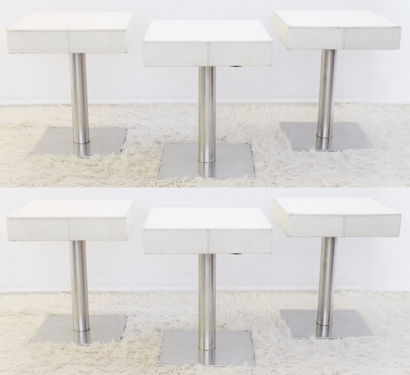 Set of 6 Chrome and White Leather stools or tables