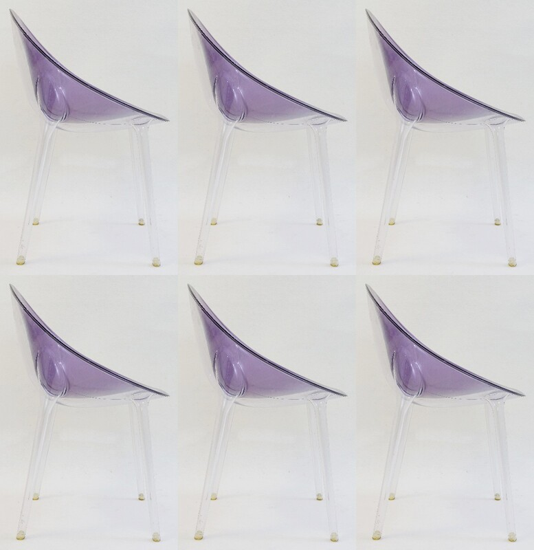 Set of 6 Clear and lavender  'Mr. Impossible' acrylic chair by Philippe Starck for Kartell