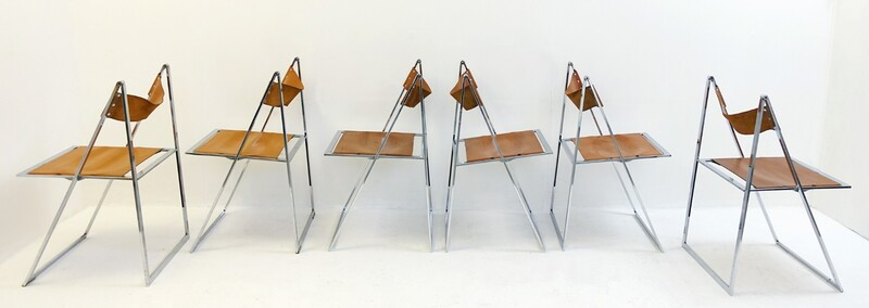 Set of 6 folding chairs 'elios' by Fontoni & Geraci - 1960s