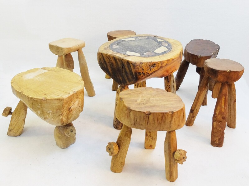set of 6 French Wooden Tripod Stools & Coffee Table