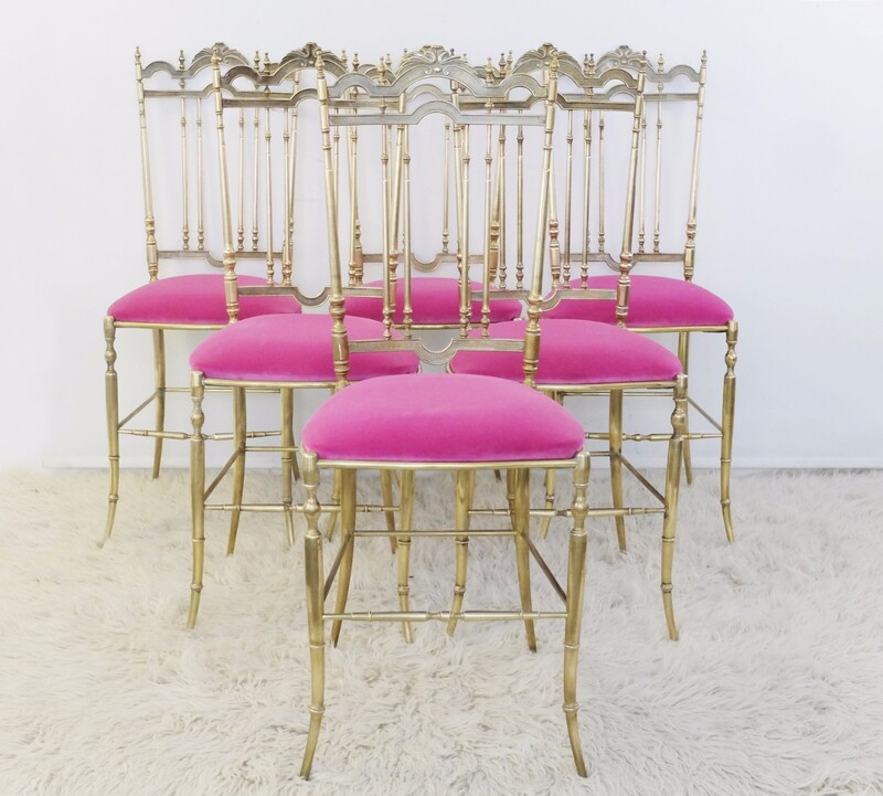 Set of 6 Polished Gilt Brass Chiavari Ballroom Chairs