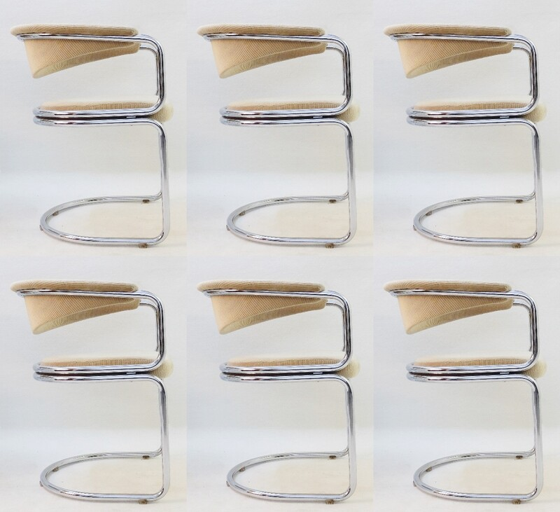 set of 6 Tubular Chrome Dining Chairs