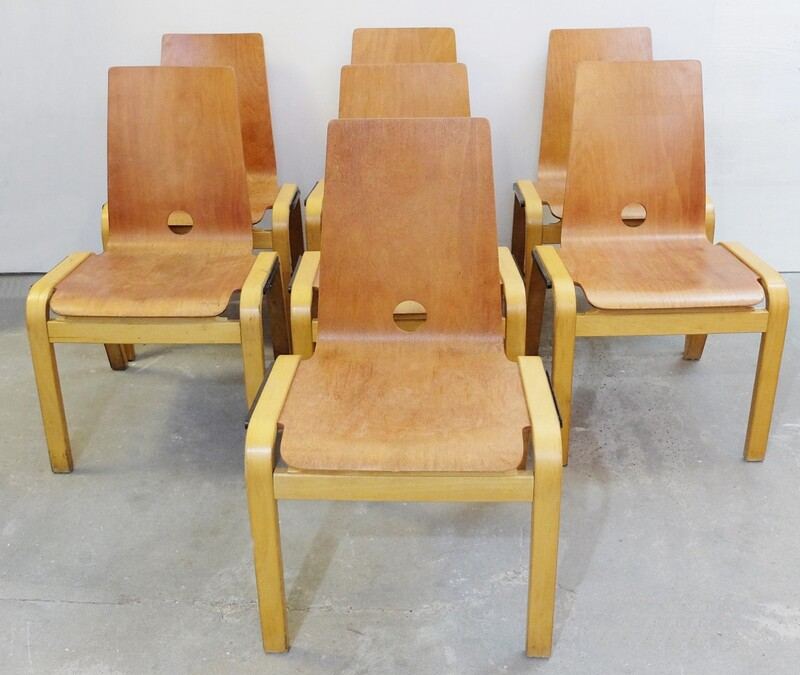 set of 7 wooden chairs