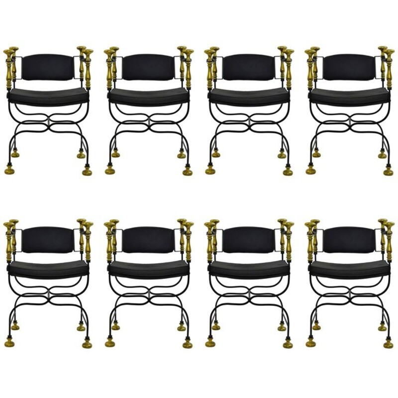 Set of 9 Wrought Iron and Gilt Brass 1970s Armchairs