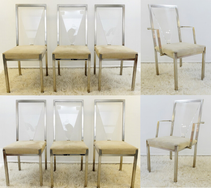 Set of brushed chrome and Plexiglass Chairs