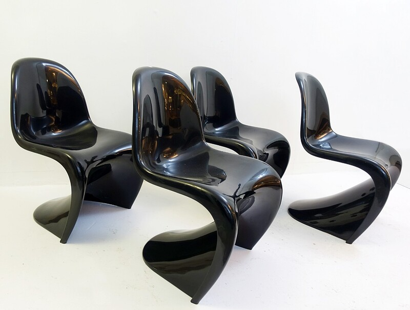 set of four black Chairs by Verner Panton for Herman Miller, 1971