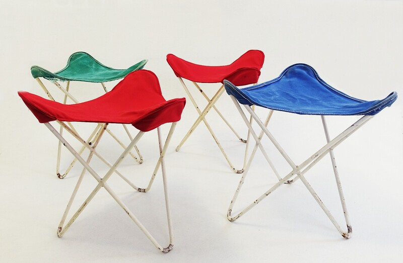 set of four Butterfly Ottomans or stools, by Jorge Ferrari-Hardoy for Knoll