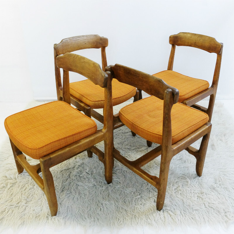 Set of Four Oak Chairs by Guillerme & Chambron
