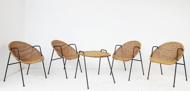 set of four rattan cocktail chairs & table