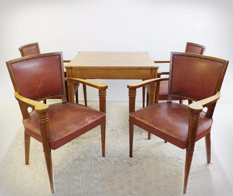 Set of Game Table and Four Armchairs