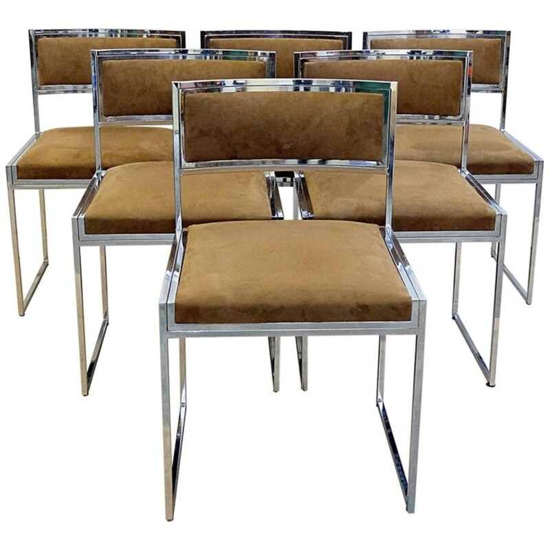 Set of Six 1970s Romeo Rega Chairs in Chrome, New Alcantara Upholstery.