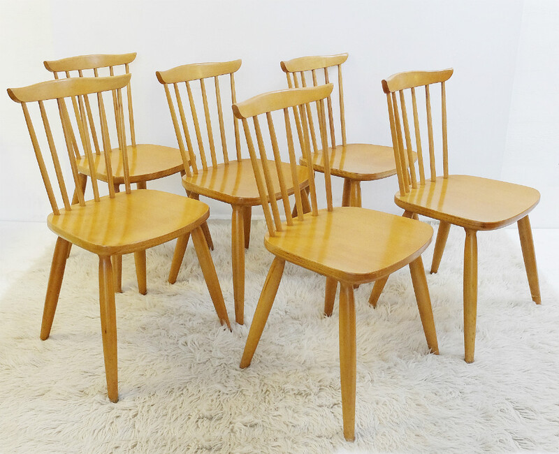 Set of six wooden chairs