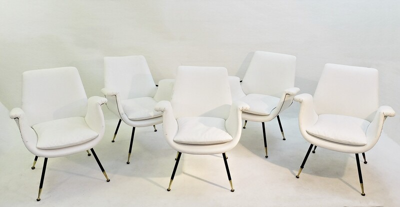 set of small italian Armchairs In White Faux Leather - 9 available