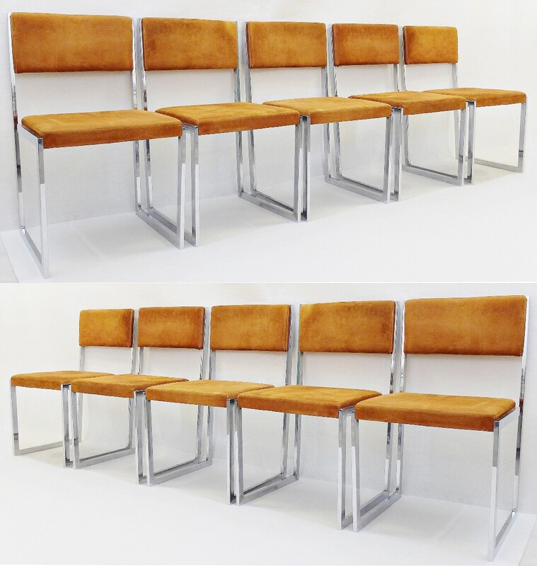 Set Of Ten Chairs By Willy Rizzo, Italy 1970'S