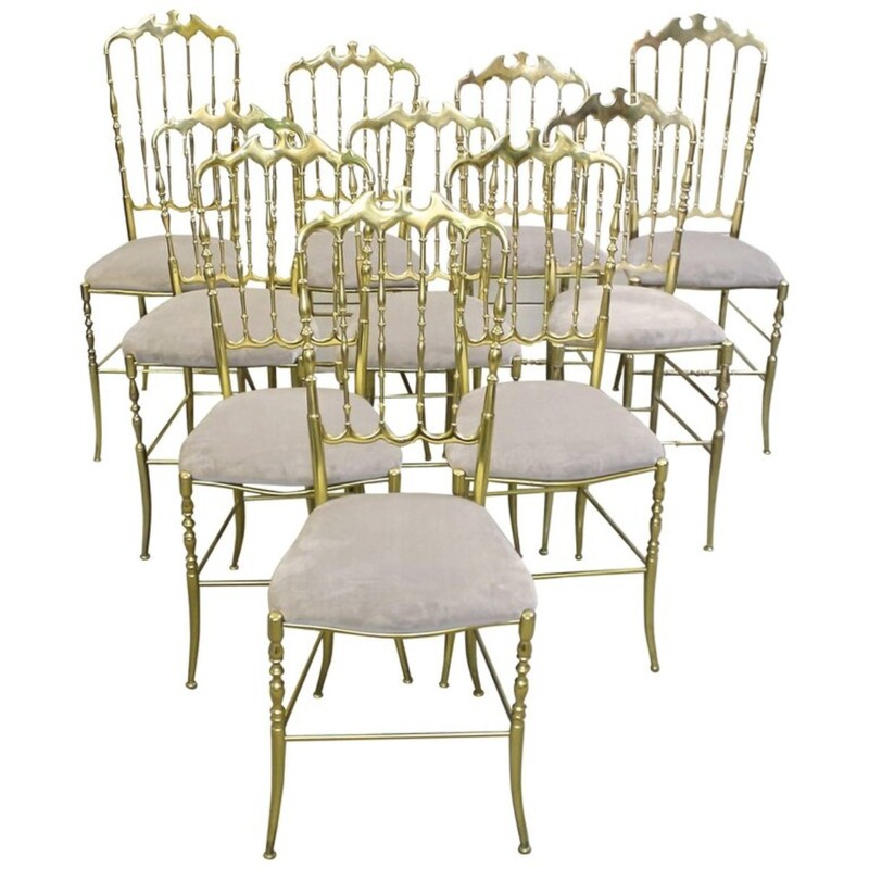 Set of Ten Polished Gilt Brass Chiavari Ballroom Chairs -4 AVAILABLE