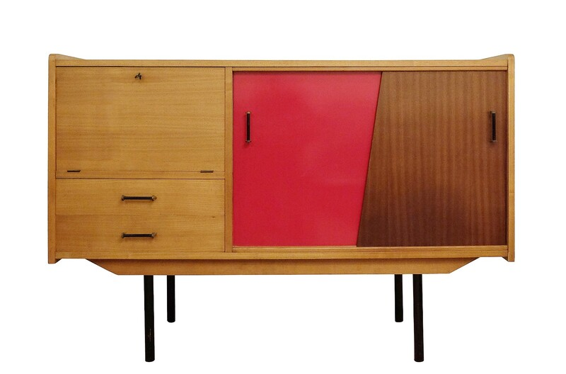 sideboard with red sliding doors