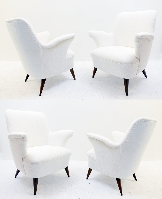 small Italian armchairs with new white cream Upholstery - 2 pairs available