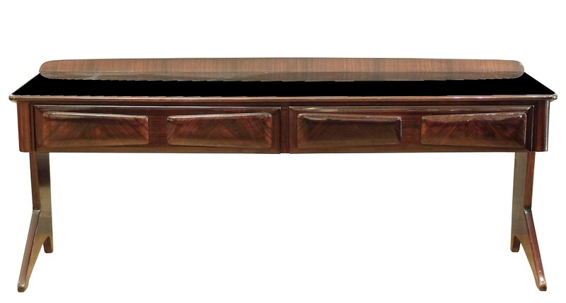Small Italian Rosewood Sideboard with black glass top  Manufactured by Fratelli Rizzi, Cantù