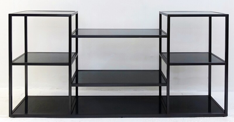 smoked glass and black metal console shelf