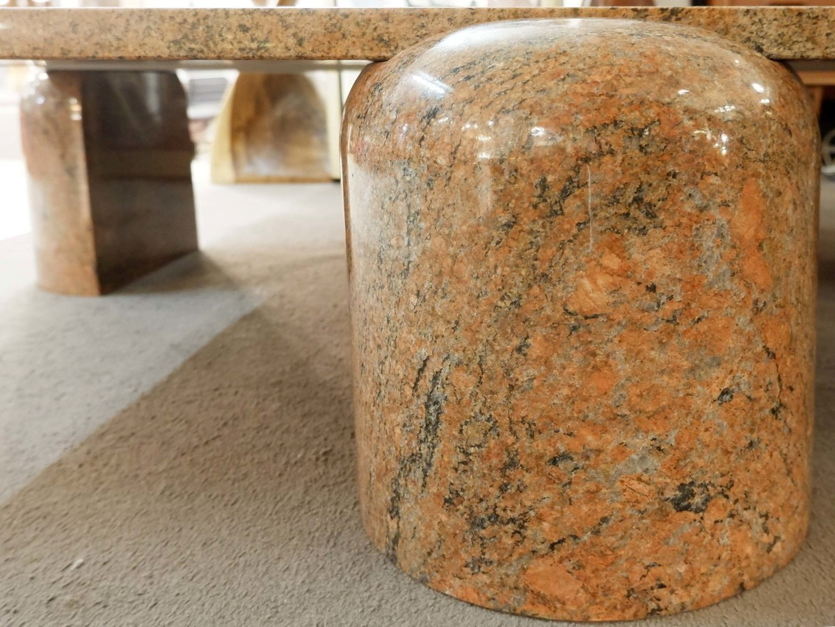 Square Coffee Table In Brown Red Granite Via Antica Recent Added Items European Antiques Decorative