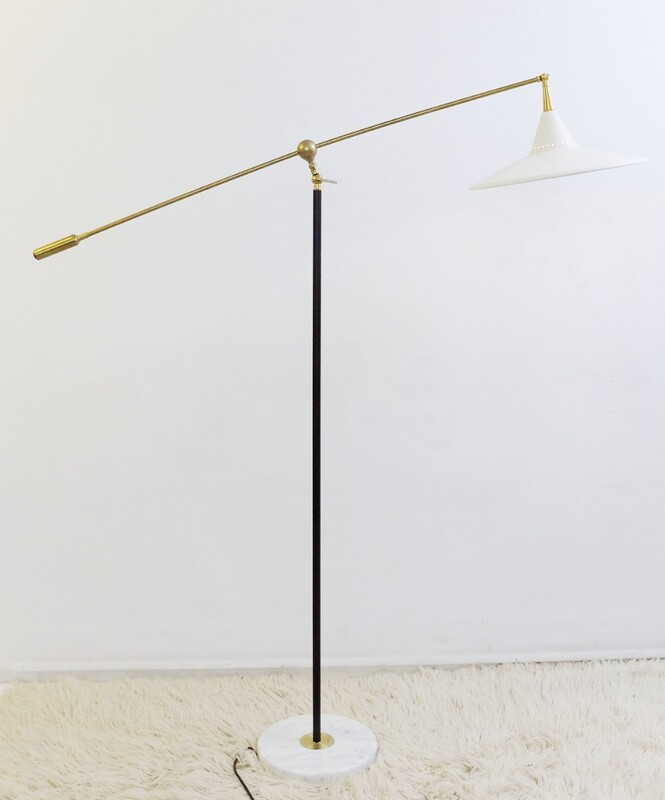 Stilnovo Floor Lamp in Metal, Brass & Marble, Italy