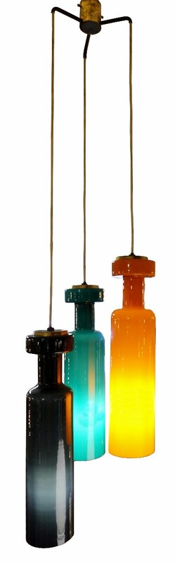 Stilnovo three color Murano glass ceiling pendant lamp