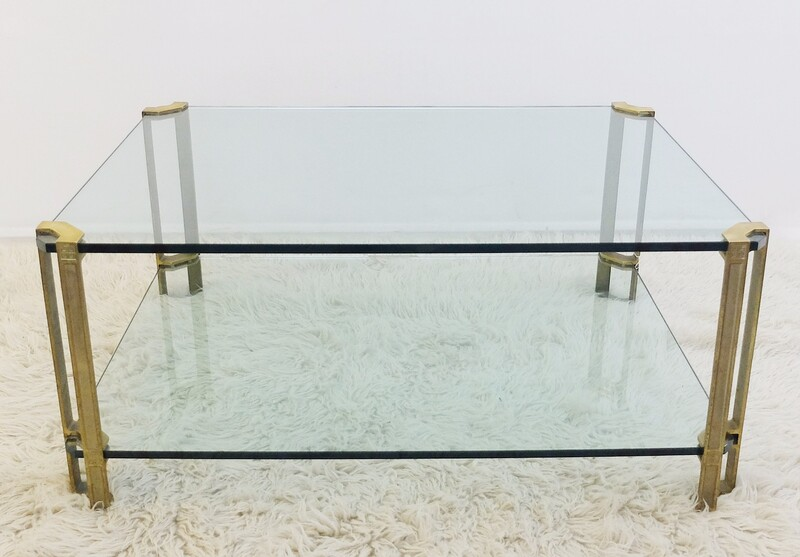 T24D Peter Ghyczy Glass and Brass Coffee Table