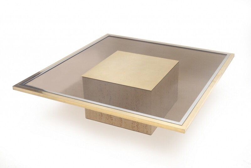 Table c. 1970 in smoked glass, travertine, chrome and brass top by Roger Vanhevel