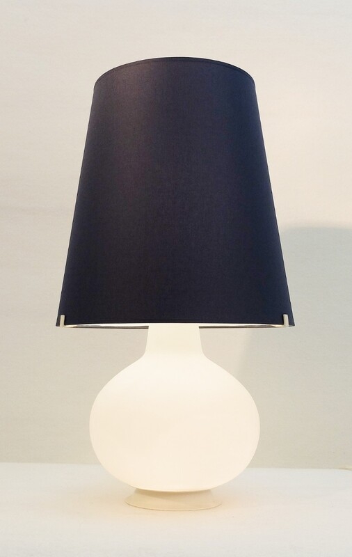 Table Lamp by Max Ingrand for Fontana Arte - New Navy Blue Cotton lamp shade