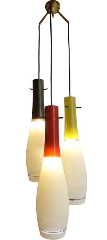 Three Glass Pendant Chandelier, Italy '50c
