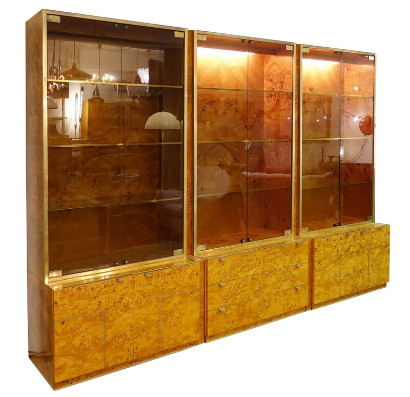 three modular burl wood and brass Illuminated Display Cabinet by Willy Rizzo
