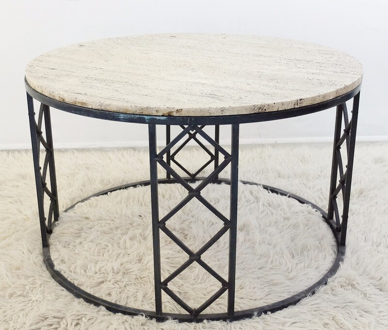 Travertine And Wrought Iron Circular Coffee Table - 1940'S
