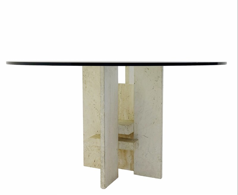 Travertine base dining table with Round glass top
