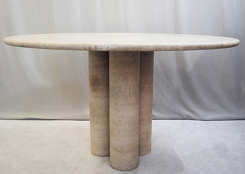 Travertine Colonnato Dining Table by Mario Bellini for Cassina, 1970s