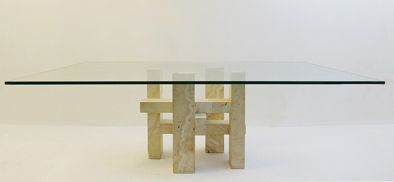 Travertine & Glass Dining Table