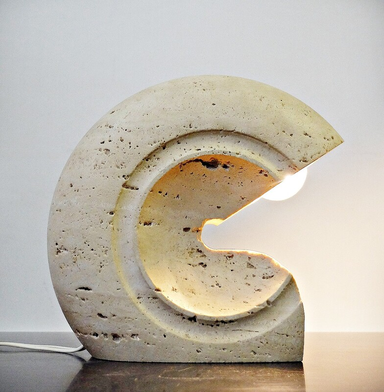 Travertine Table Lamp by Giuliano Cesari for Sormani, Italy, circa 1960