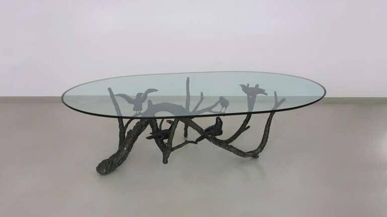 Tree and birds coffee table in bronze