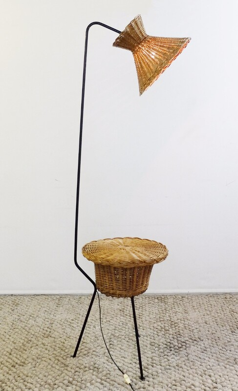 Tripod Floor Lamp with rattan basket