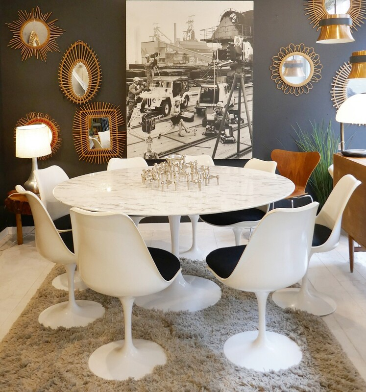 Tulip Dining Table/ White Marble Top & 8 Tulip chairs (Table and chairs sold separately)