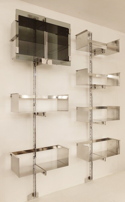 Two Vittorio Introini Chrome Modulable Shelving Systems for Saporiti, Italy 1969