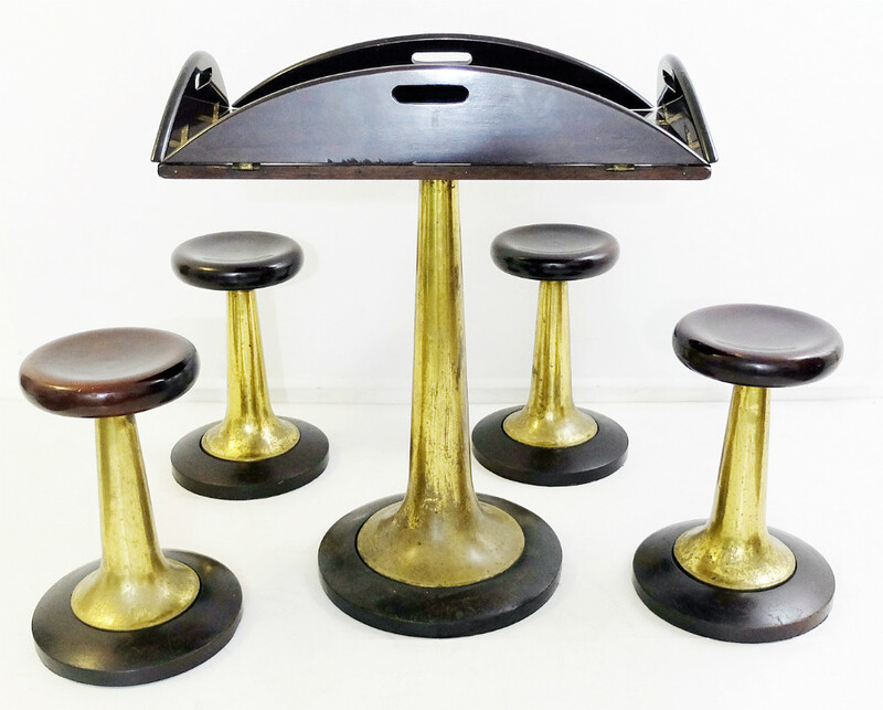 Venetian Cruise Ship Furniture - Folding Boat Table & 4 Stools In Gilt Bronze