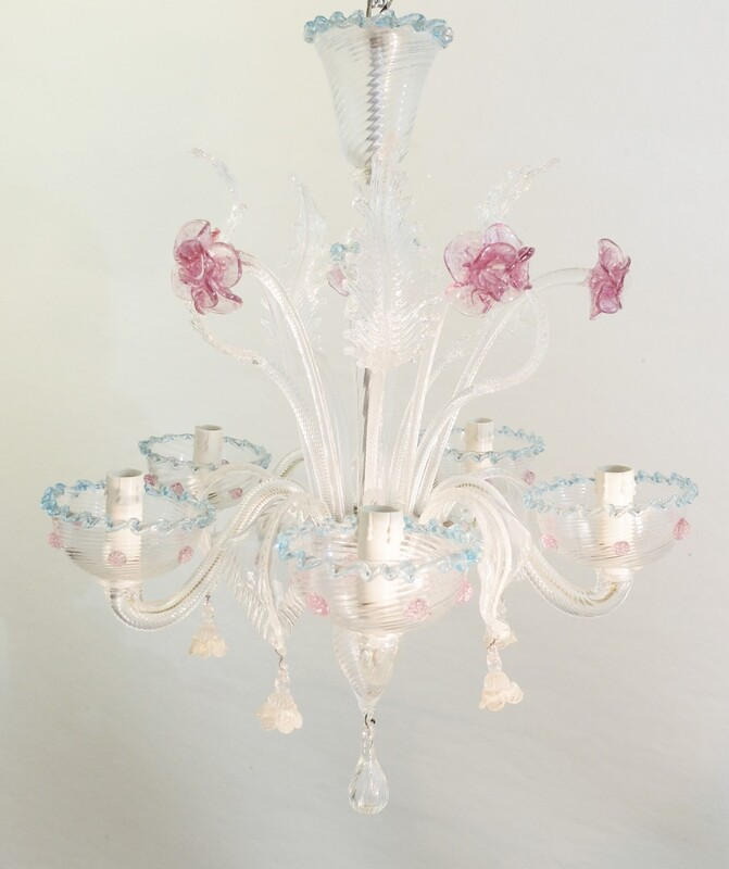 Venetian Murano Glass Chandelier, five Arms Of Light, 20th.C