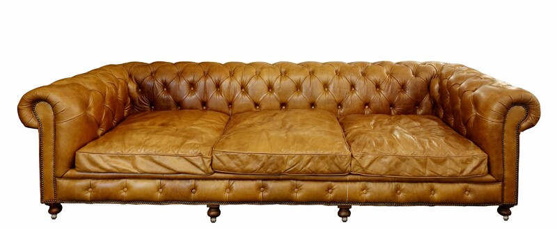 Very large chesterfield cognac leather