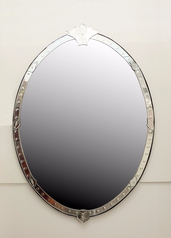 Very Large Oval Shape Venetian Mirror