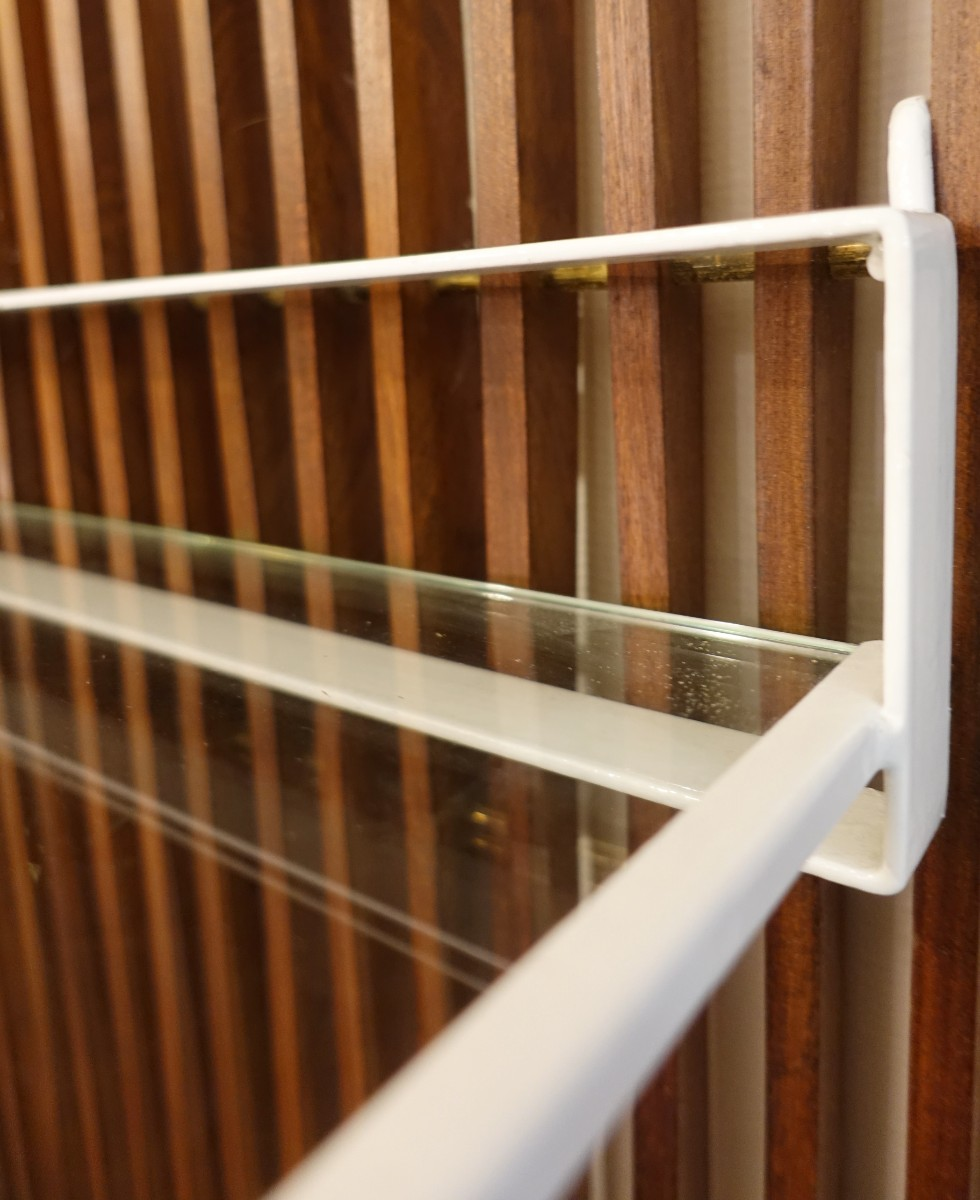 Very Large Wood Slats Wall Coat Rack With Mirror Glass Shelf And 6
