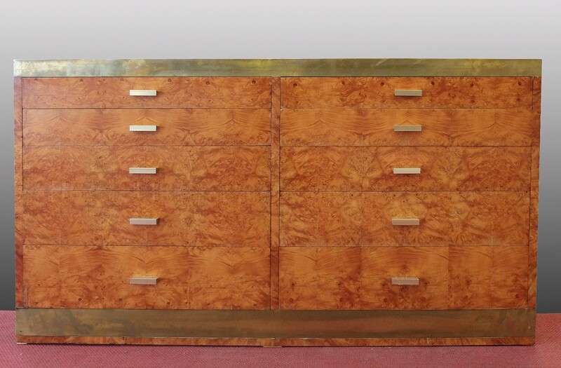 walnut and brass chest of drawers